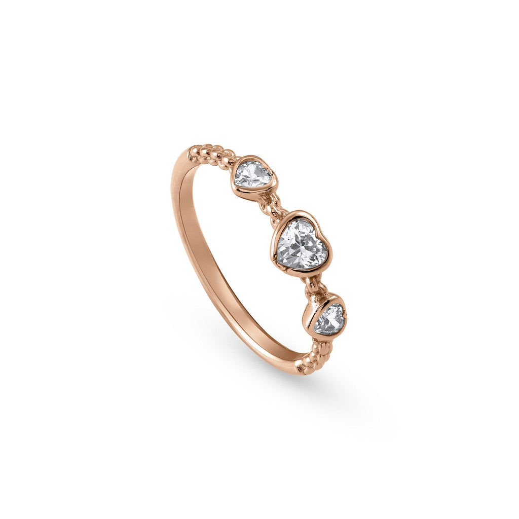 Nomination Rose Gold Bella Ring with 3 Heart Cubic Zirconi Size 12 142680/002/022