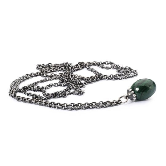 Trollbeads Silver Fantasy Necklace with Malachite 90cm