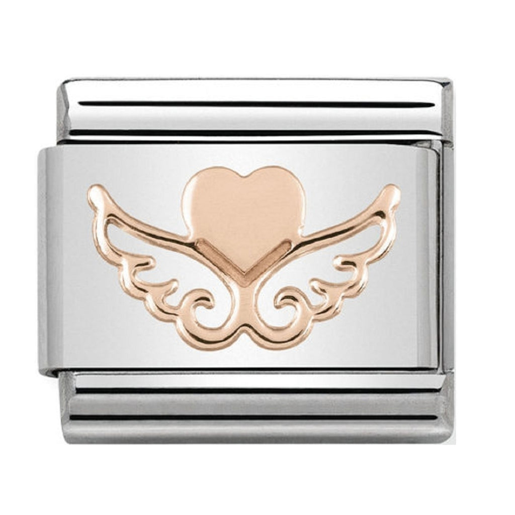 Nomination Link Rose Gold Angel Heart with Wings 430104-01