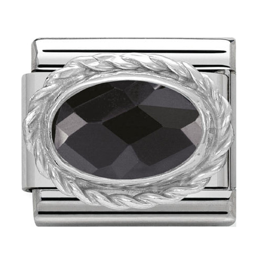 Nomination Charms Black Oval CZ Silver Shine