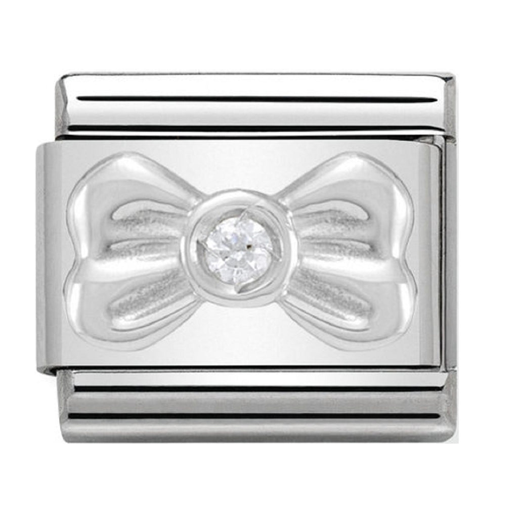 Nomination Charms Bow with White CZ Silver Shine