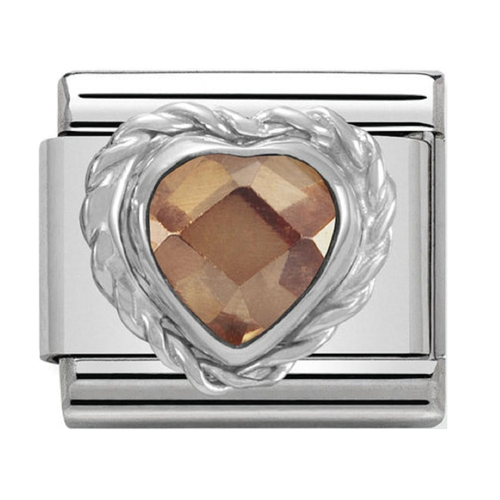 Nomination Charms Champagne Heart CZ Silver Shine