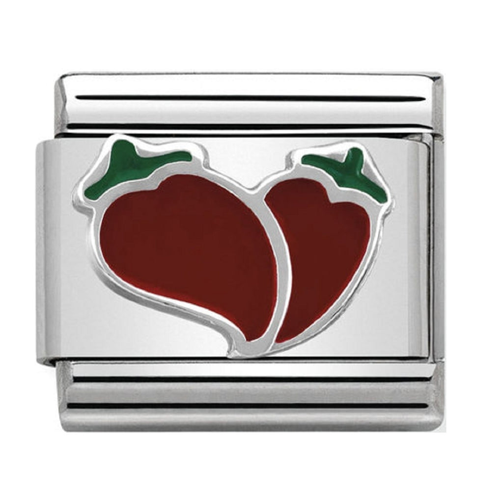 Nomination Charms Chilli Heart Silver and Enamel