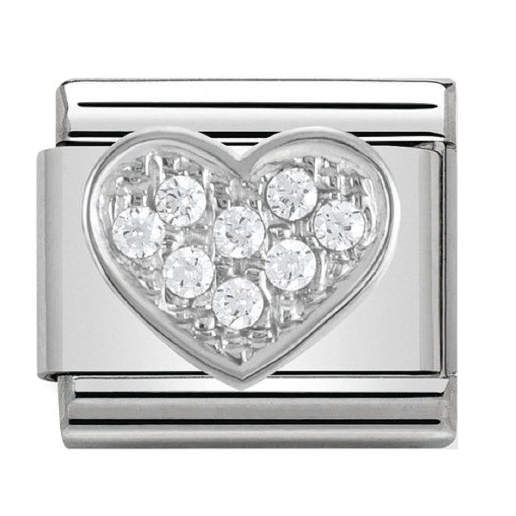 Nomination Charms Cubic Zirconia Heart Silver Shine