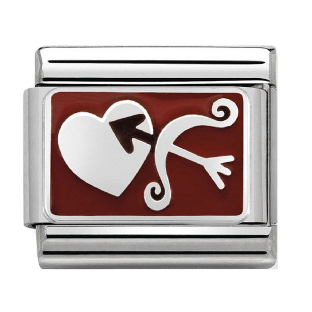 Nomination Charms Cupids Bow and Arrow SILVER AND RED ENAMEL 330208-05