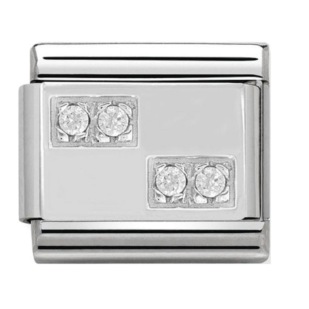 Nomination Charms CZ Chessboard Silver Shine