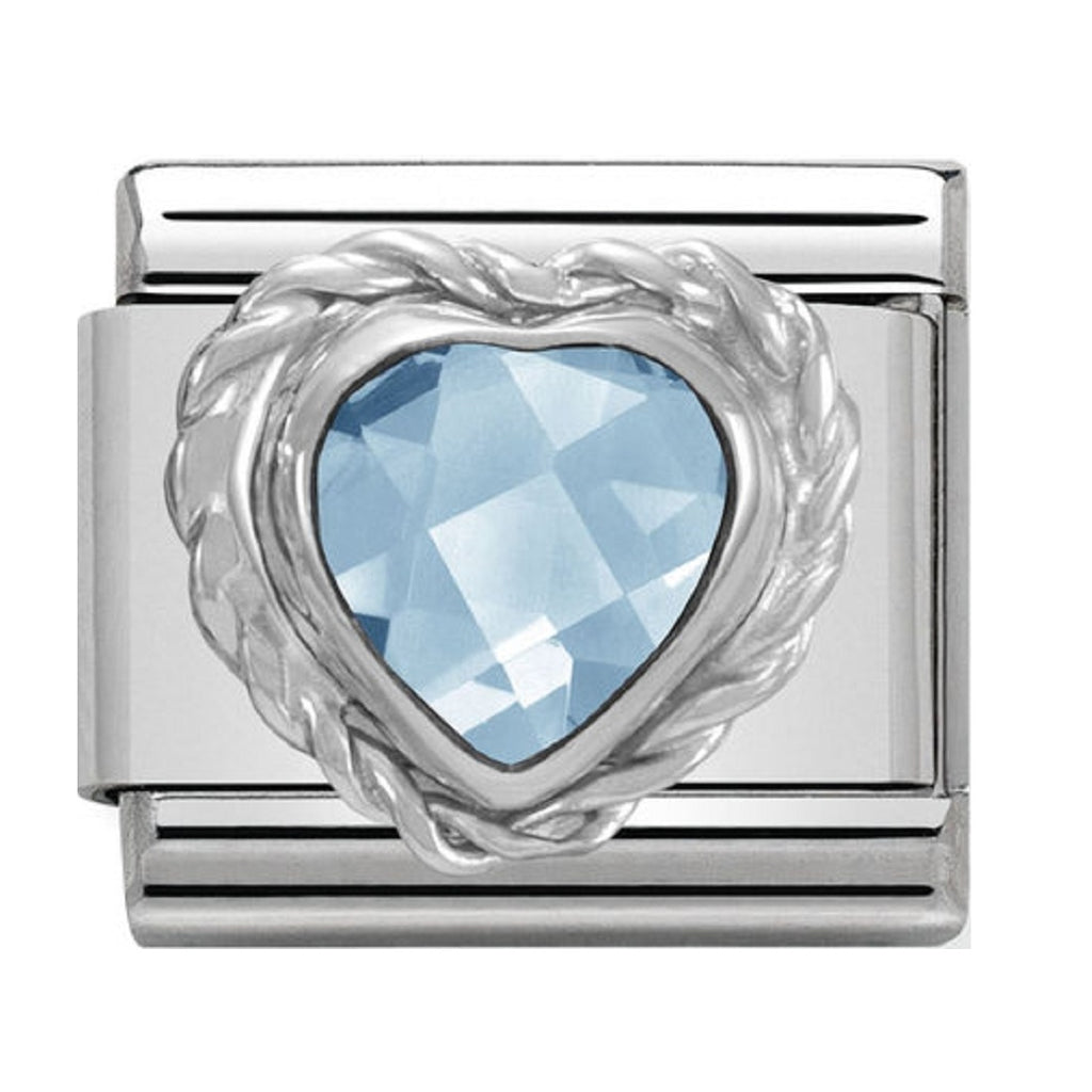 Nomination Charms Light Blue Heart CZ Silver Shine