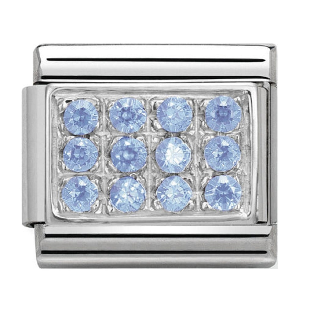 Nomination Charms Light Blue Pave Silver Shine