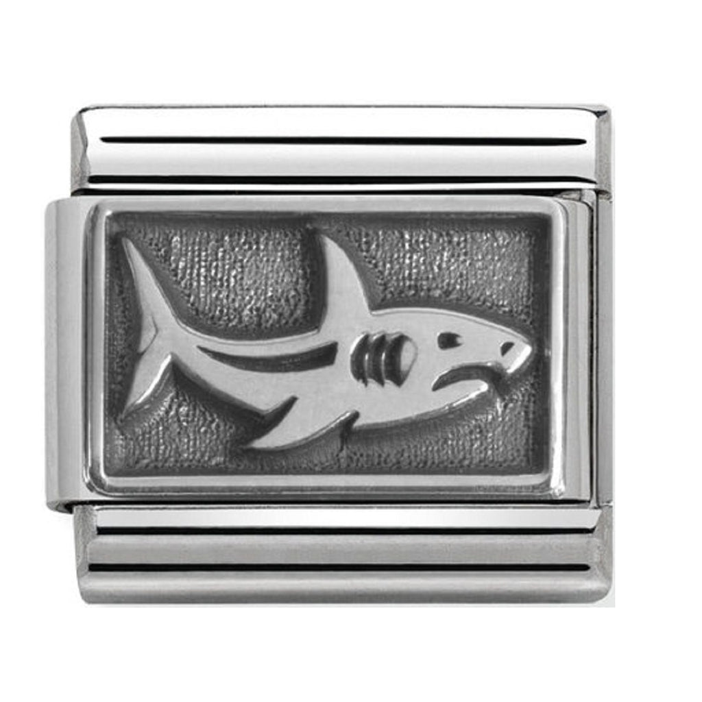 Nomination Charms Oxidized Silver Shark