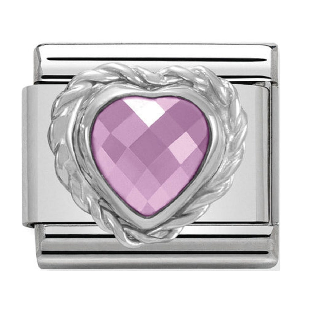 Nomination Charms Pink Heart CZ Silver Shine