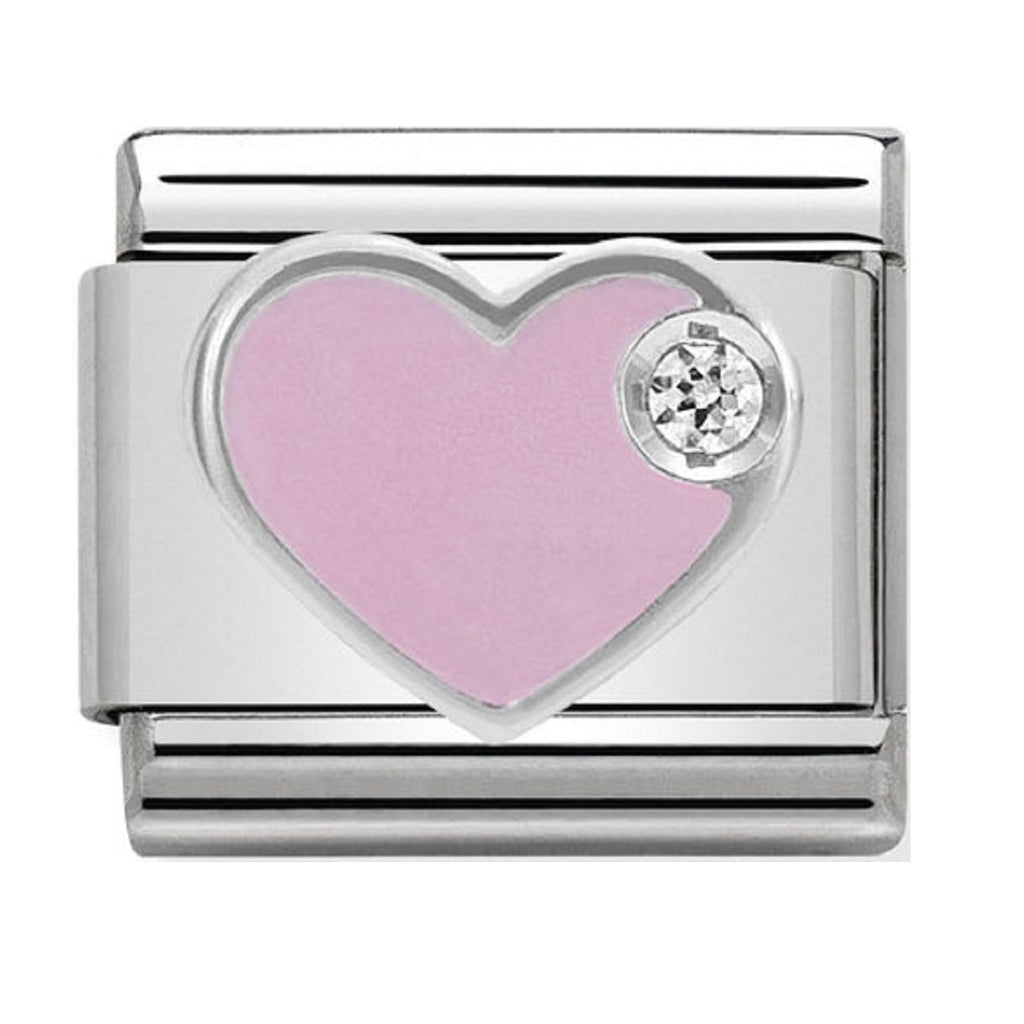 Nomination Charms Pink Heart Silver Shine