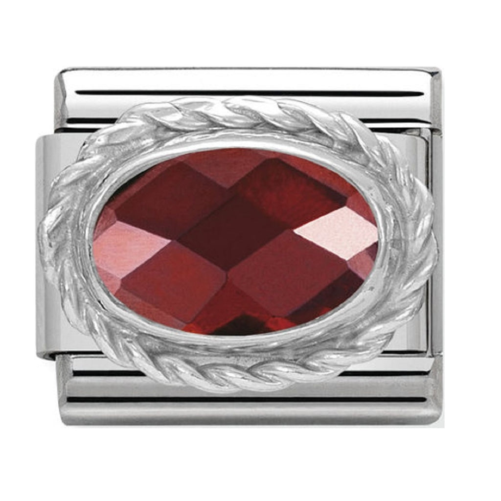 Nomination Charms Red Agate Oval with Silver