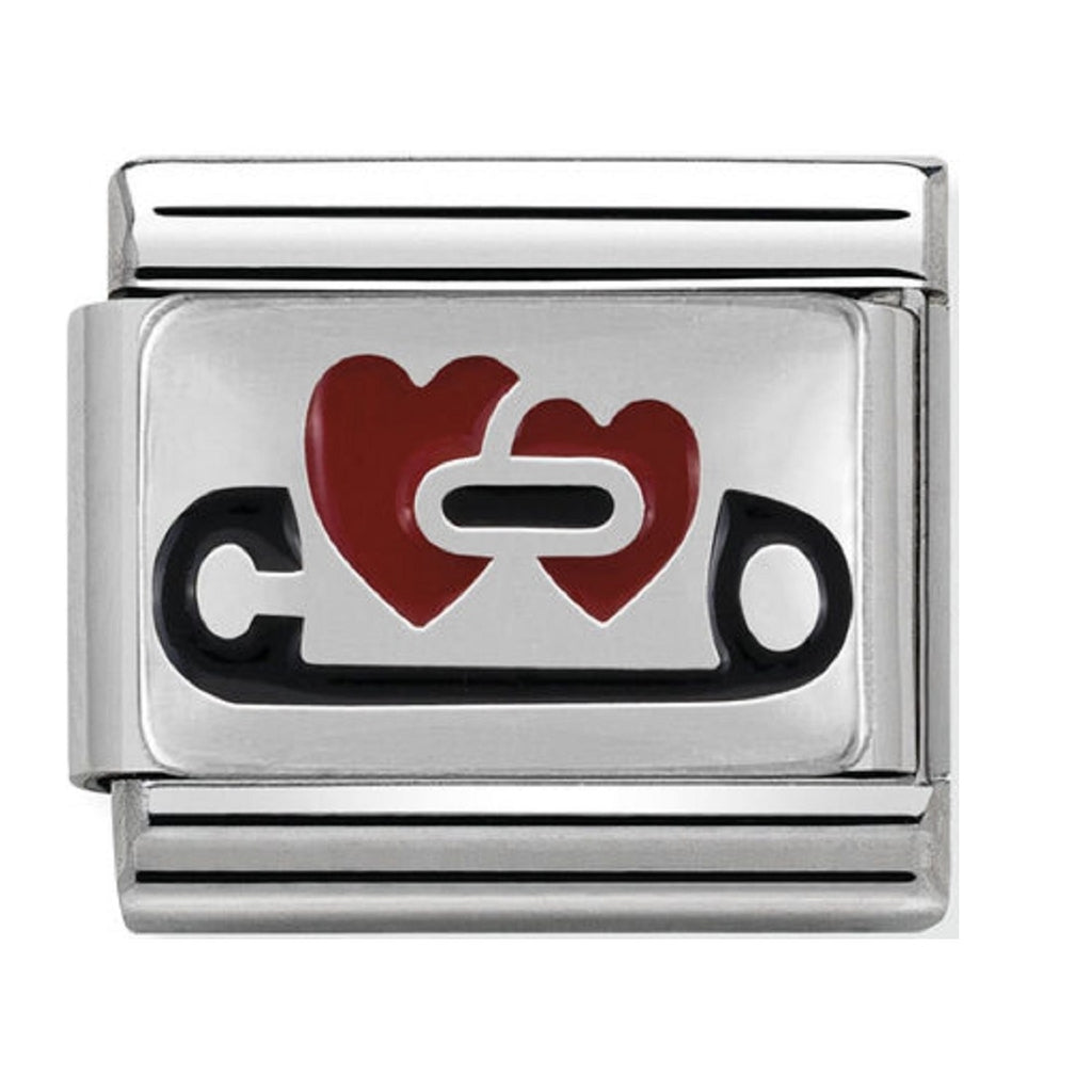 Nomination Charms Safety Pin Heart Silver and Enamel