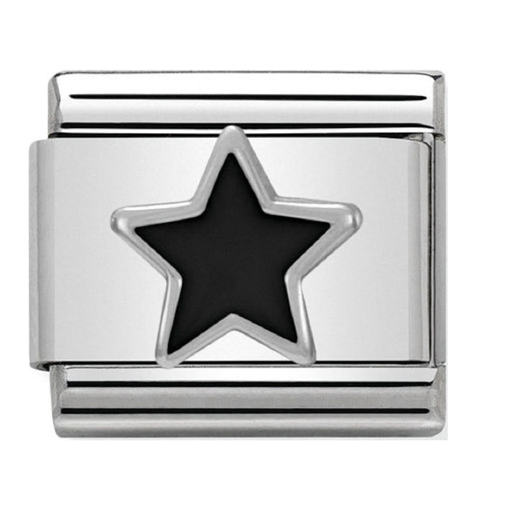 Nomination Charms Silver and Enamel Black Star