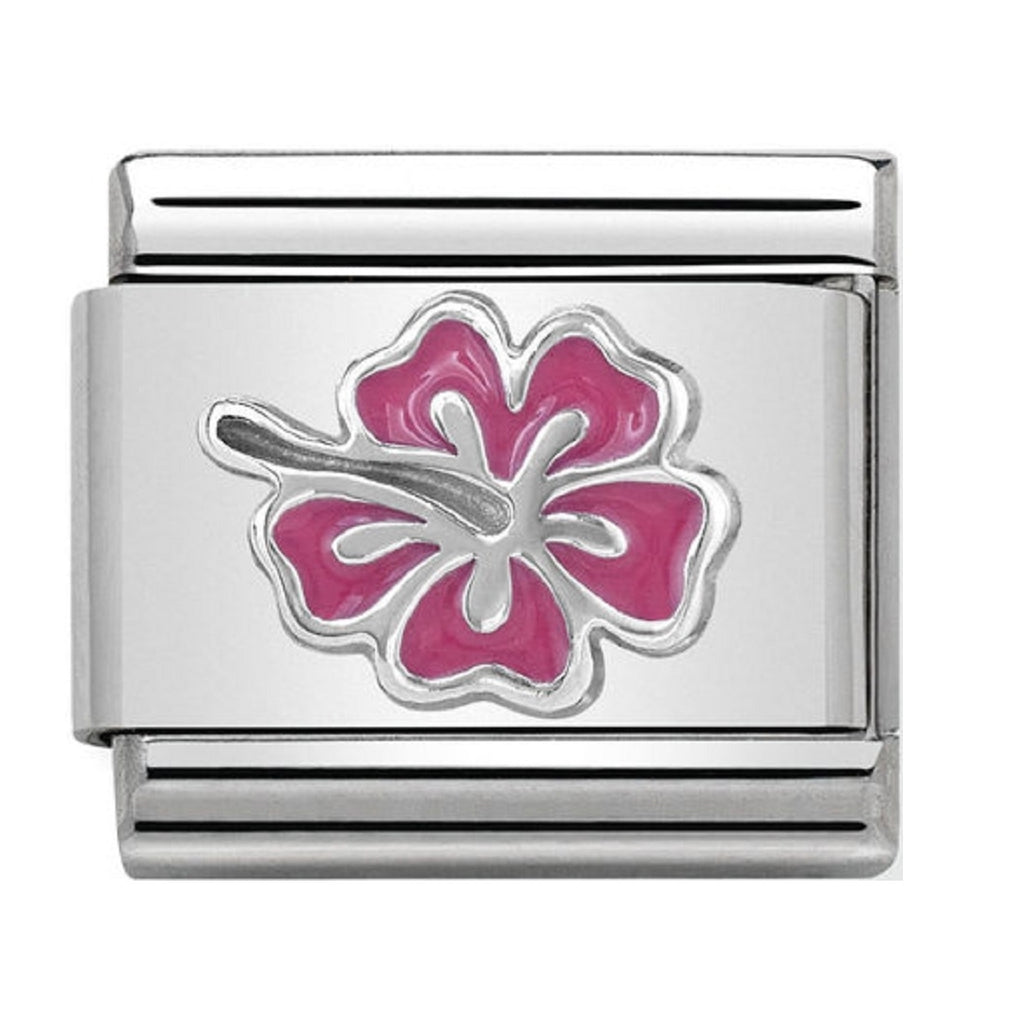 Nomination Charms Silver and Enamel Pink Hibiscus Flower