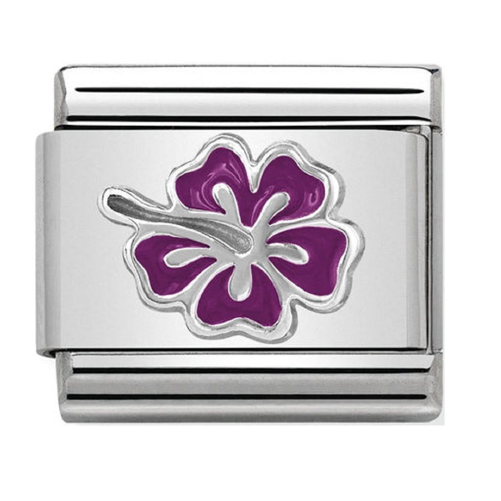 Nomination Charms Silver and Enamel Purple Hibiscus Flower