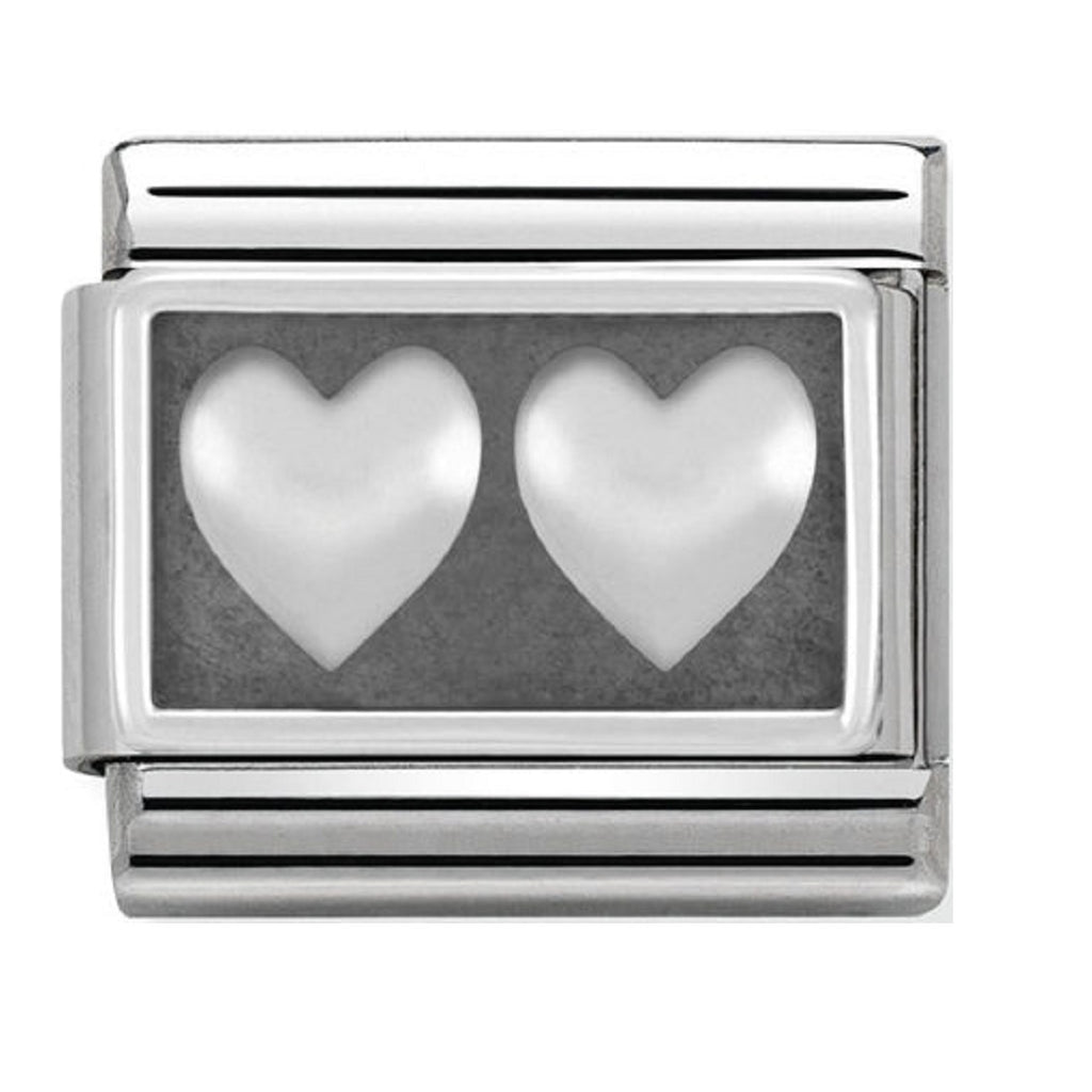 Nomination Charms Silver Double Hearts Silver Shine
