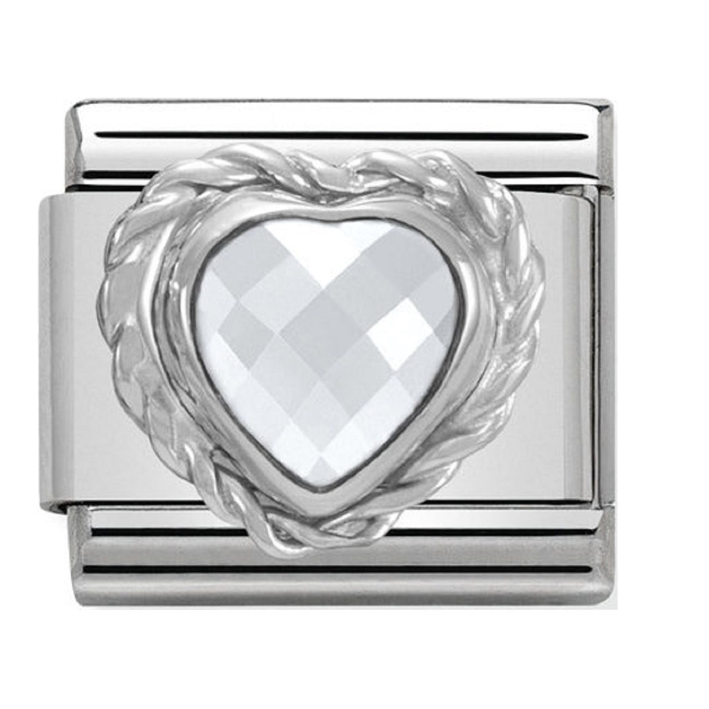 Nomination Charms White Heart CZ Silver Shine
