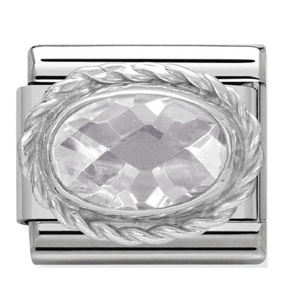 Nomination Charms White Oval CZ Silver Shine