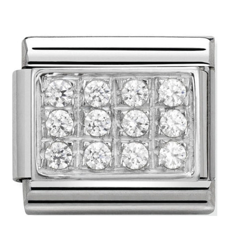 Nomination Charms White Pave Silver Shine