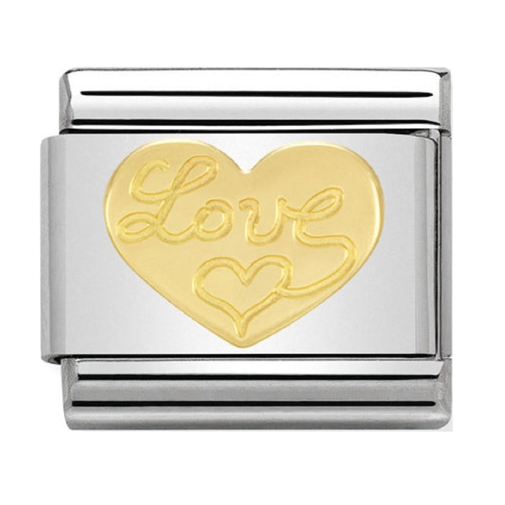 NOMINATION 18K gold with Love Heart CHARM 030116-11