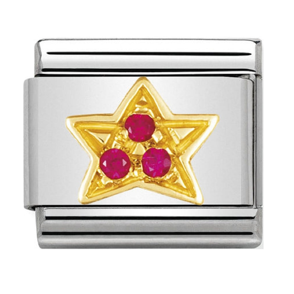 Nomination Charms 18ct and CZ Red Star