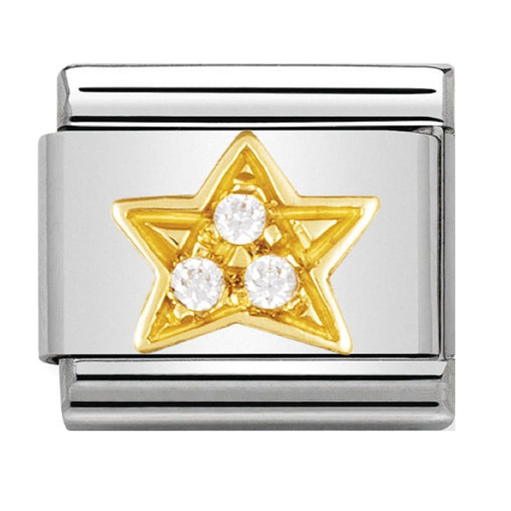 Nomination Charms 18ct and CZ White Star