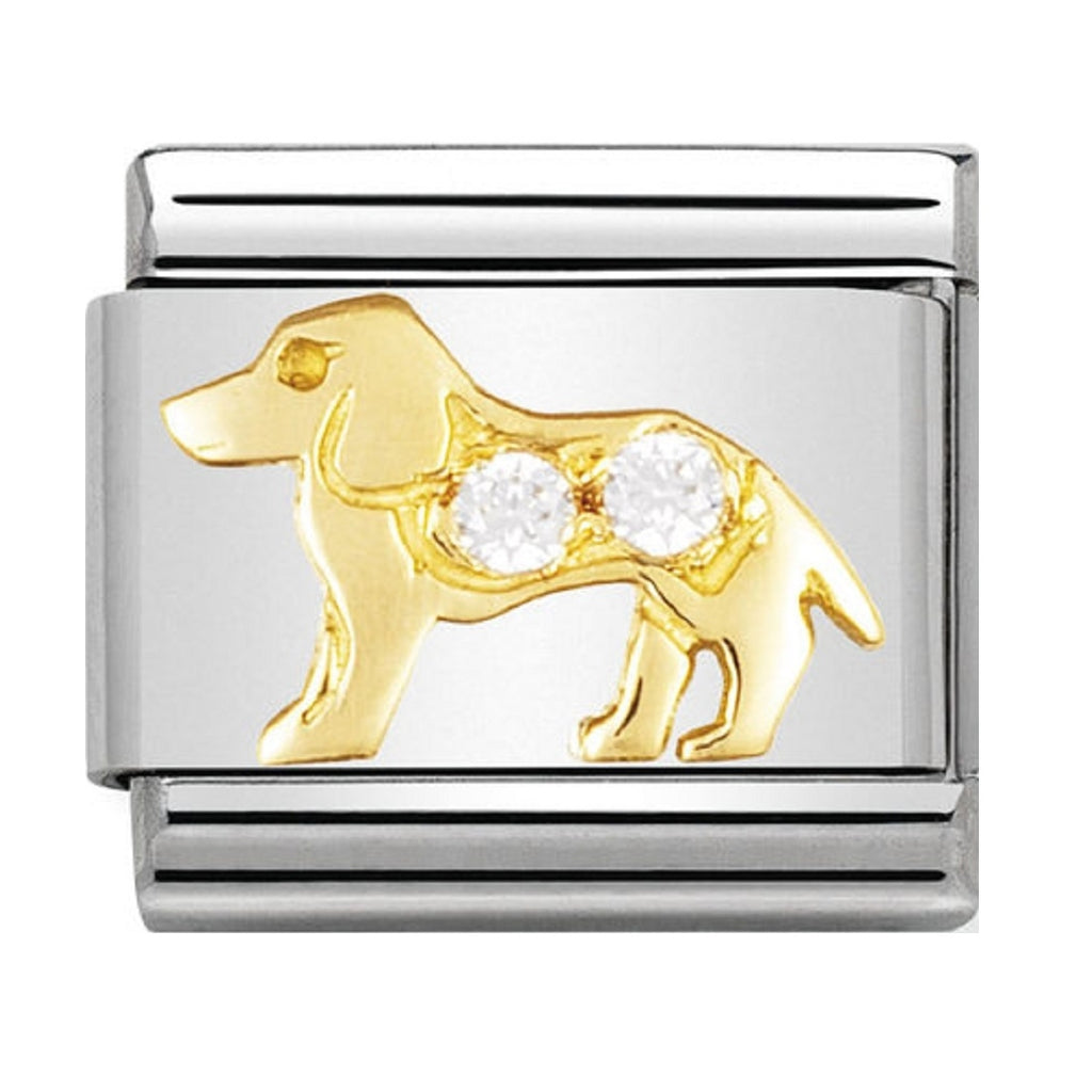 Nomination Charms 18ct and CZ Dog