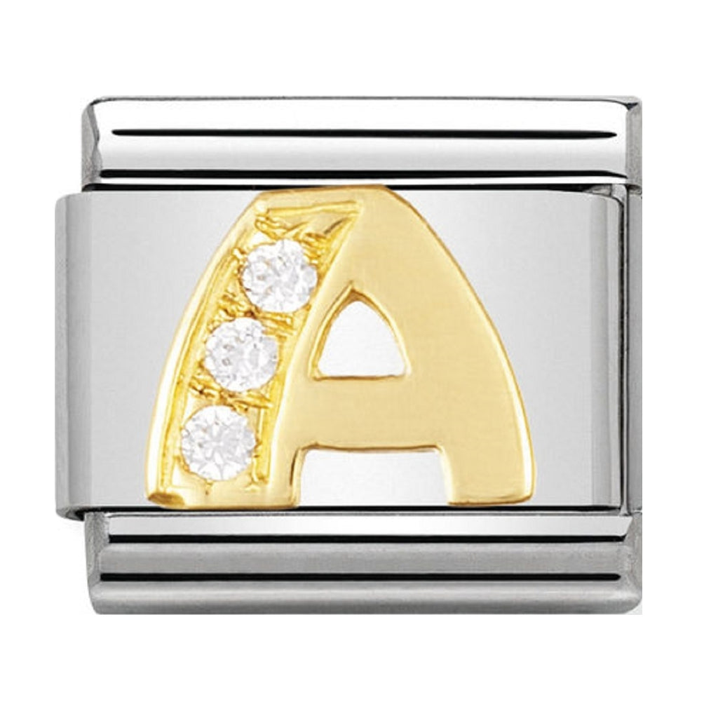 Nomination Charms 18ct and CZ letter A