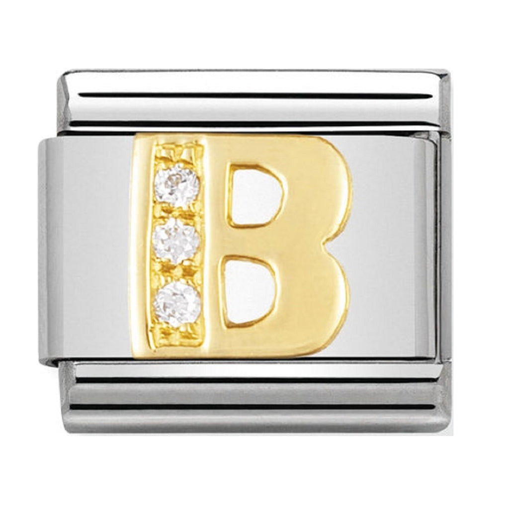 Nomination Charms 18ct and CZ Letter B