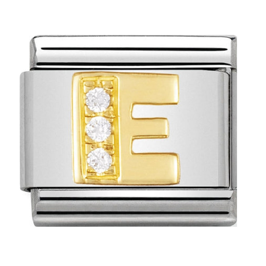 Nomination Charms 18ct and CZ Letter E