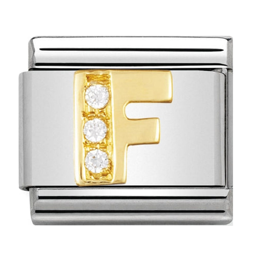 Nomination Charms 18ct and CZ Letter F