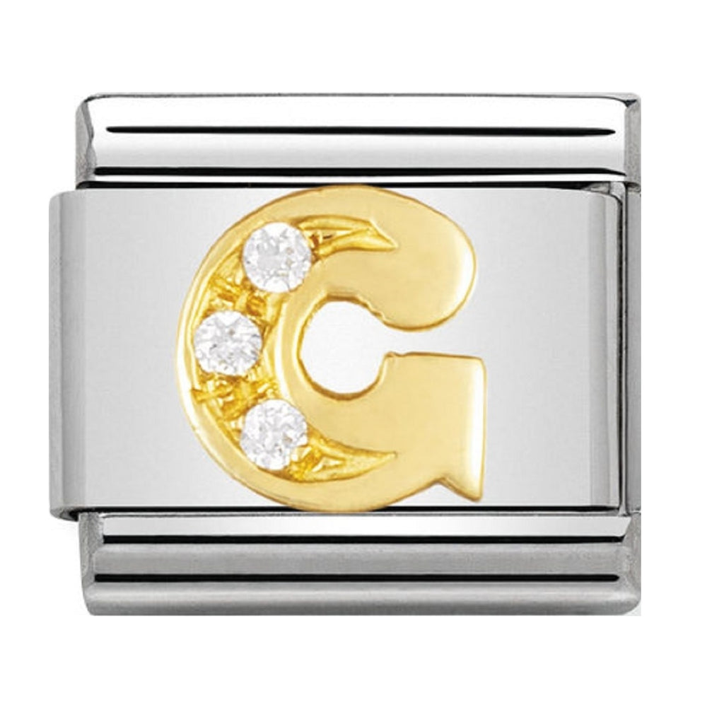 Nomination Charms 18ct and CZ Letter G