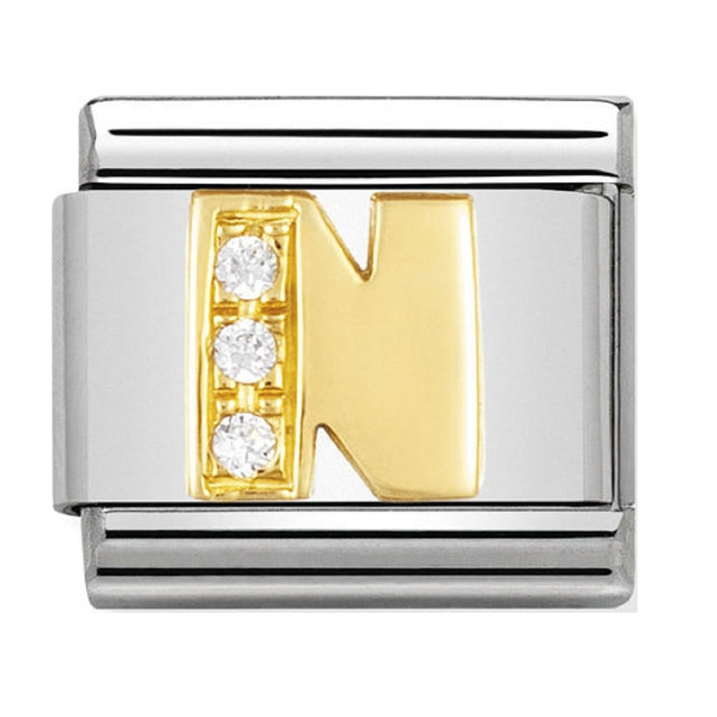 Nomination Charms 18ct and CZ Letter N