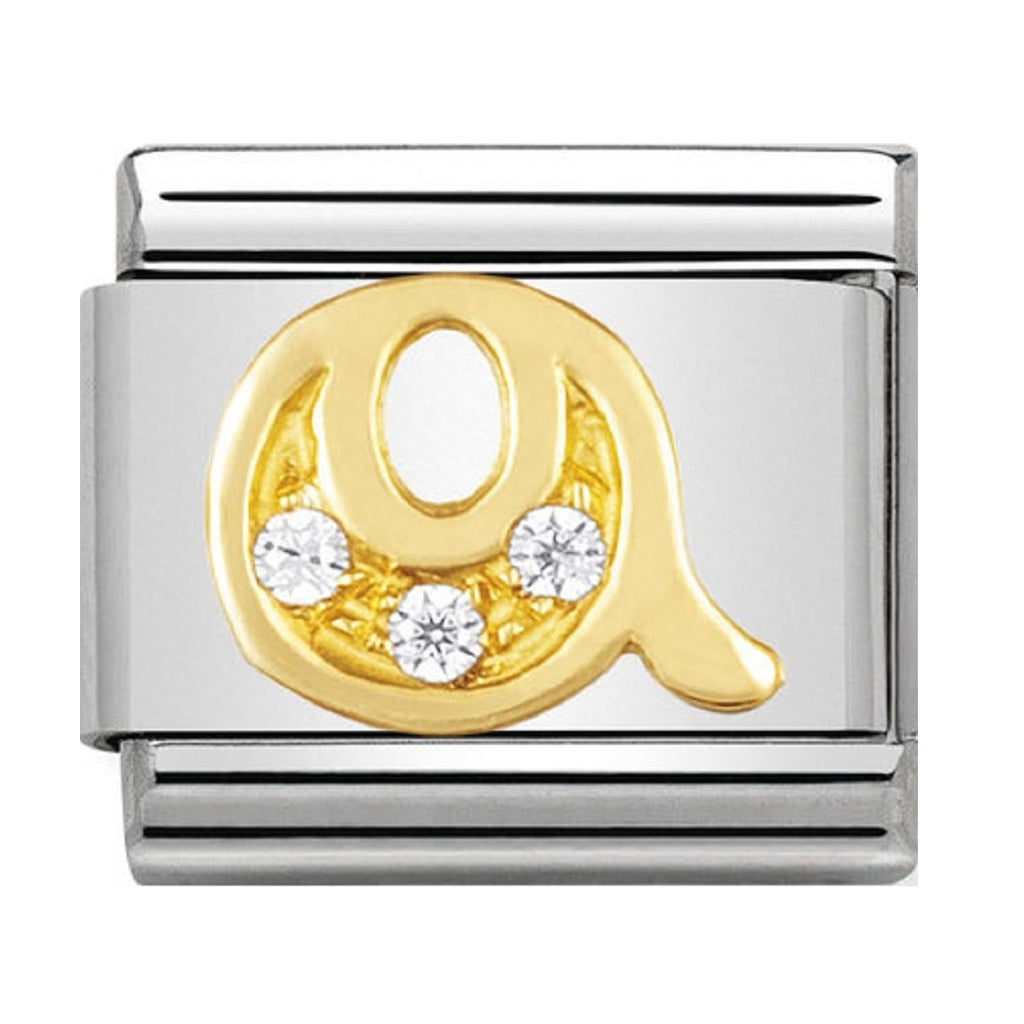 Nomination Charms 18ct and CZ Letter Q