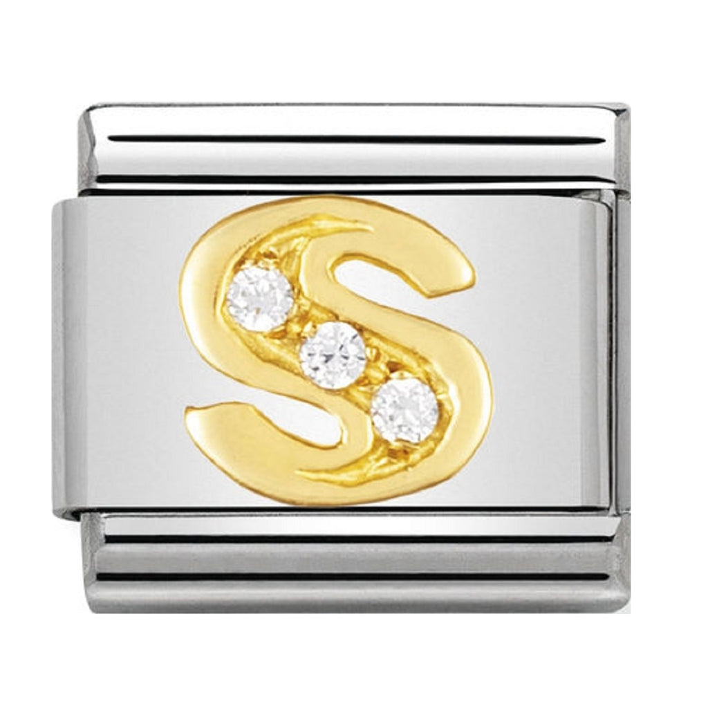 Nomination Charms 18ct and CZ Letter S