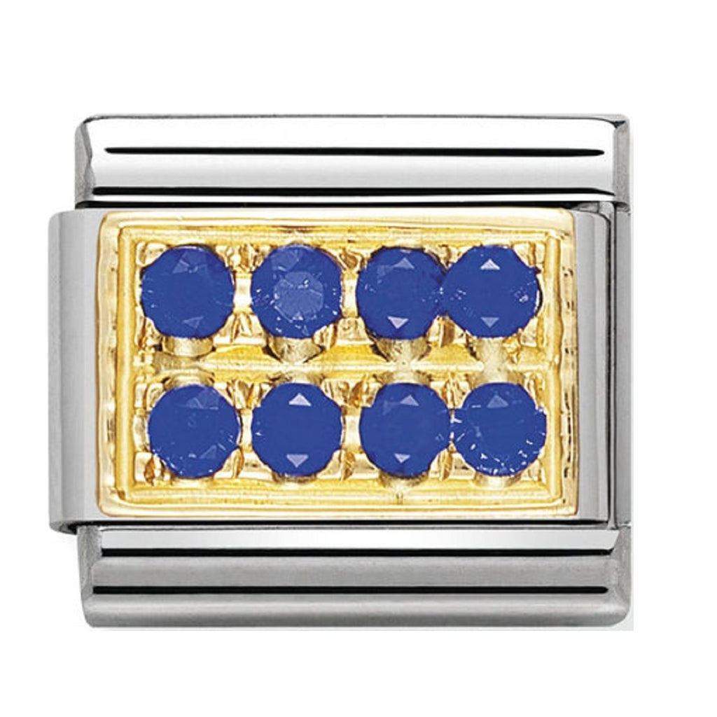 Nomination Charms 18ct Gold and Blue CZ Pave 030314-04