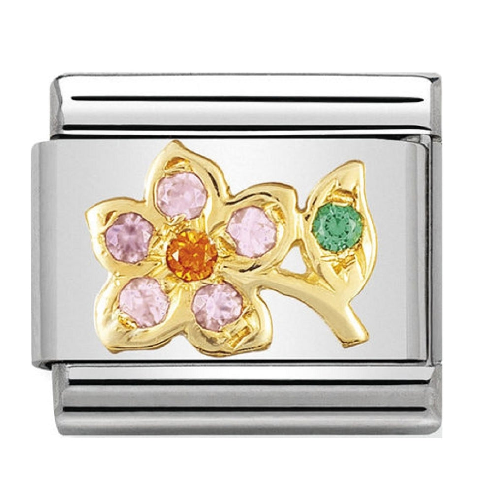 Nomination Charms 18ct Gold and CZ LILAC AND ORANGE FLOWER 030318-19
