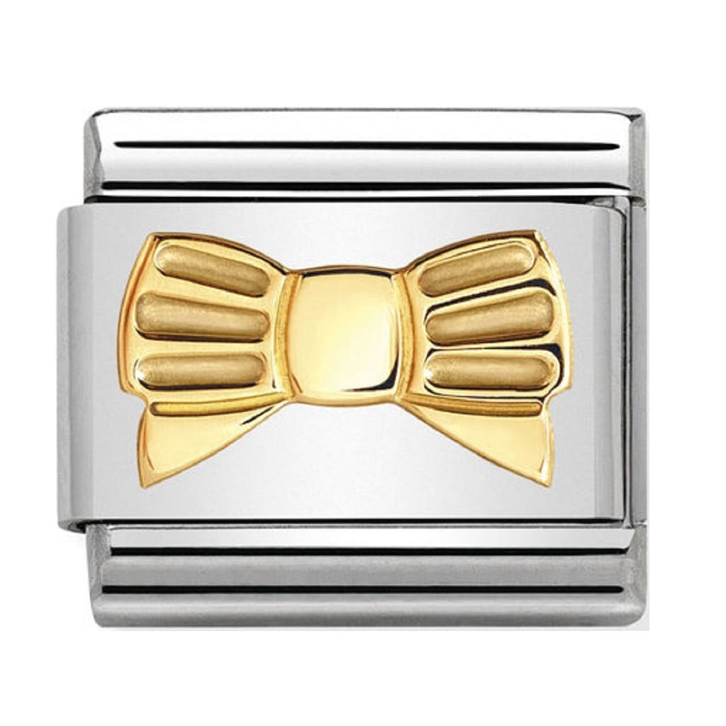 Nomination Charms 18ct Gold Bow Tie with Stripes