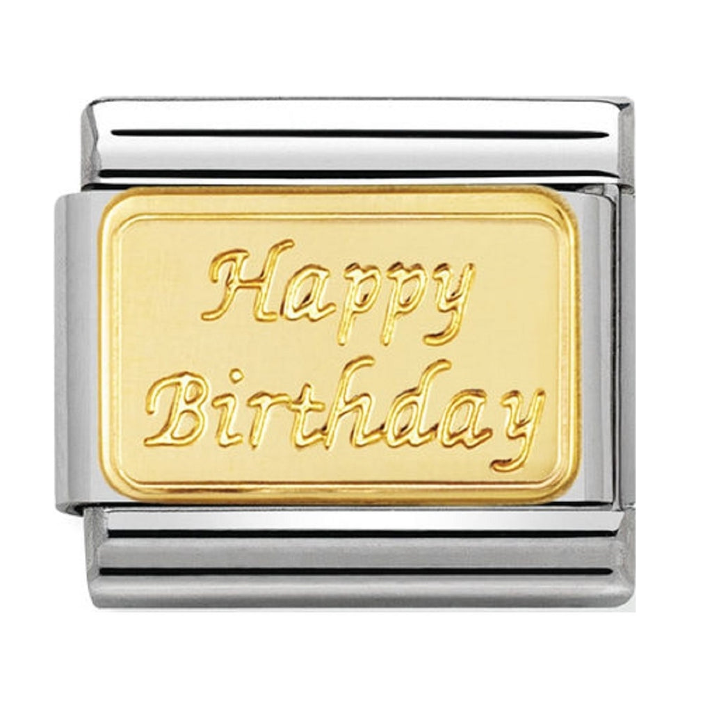 Nomination Charms 18ct GOLD engraved Happy Birthday 030121-09