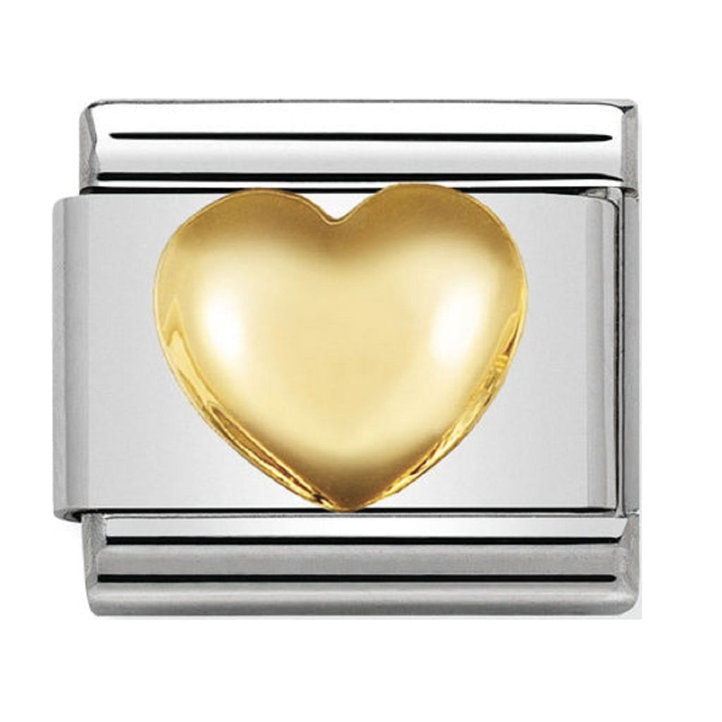 Nomination Charms 18ct Gold Raised Heart Charm 030116-01