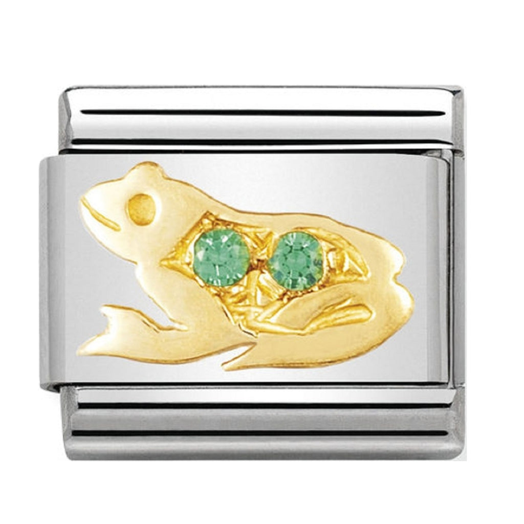 Nomination Links 18ct and Cubic Zirconia Green Frog