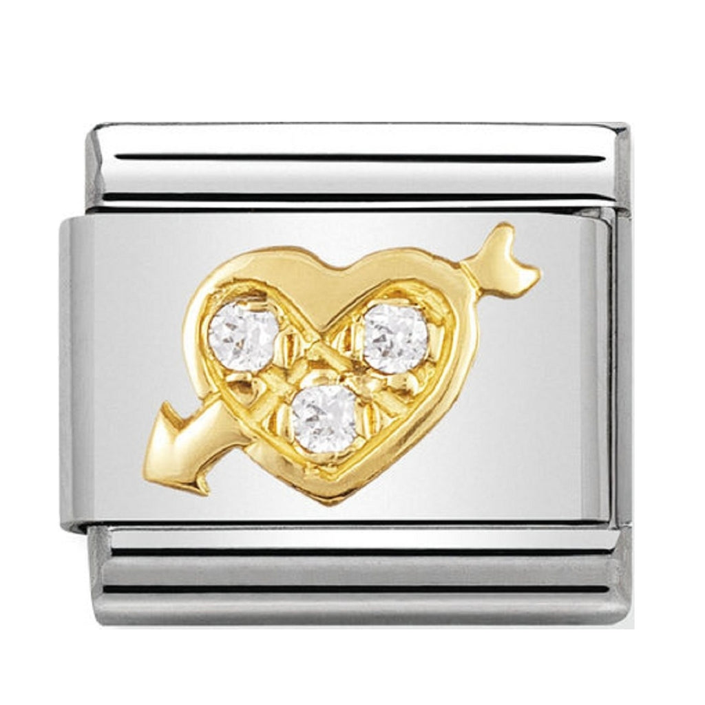 Nomination Gold 18ct and CZ Heart with Arrow Charms 030311-01