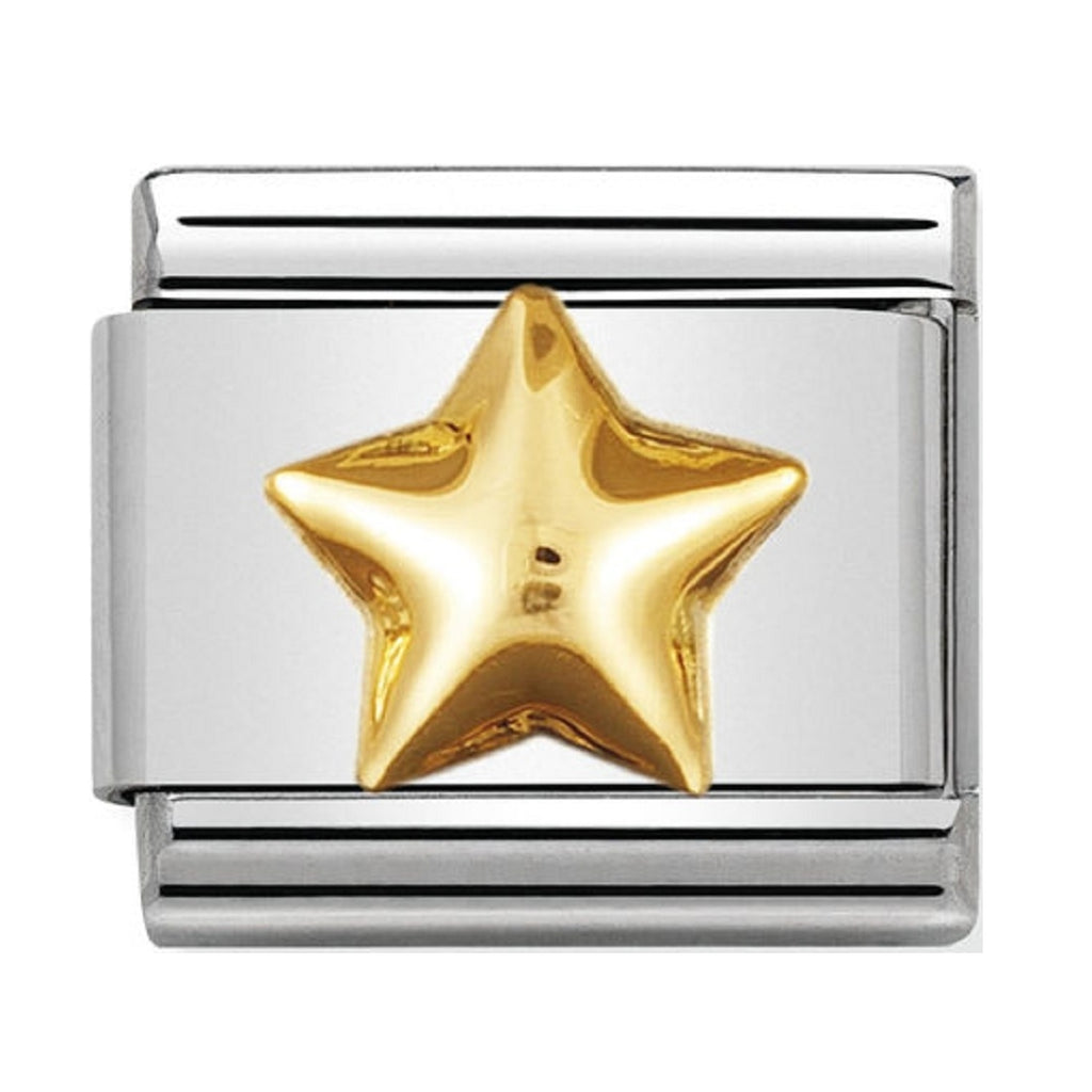 Nomination Gold 18ct Raised Star Charms Classic 030110-12