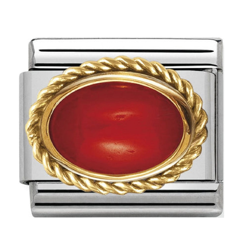 Nomination Charms Coral Oval with Gold Surround