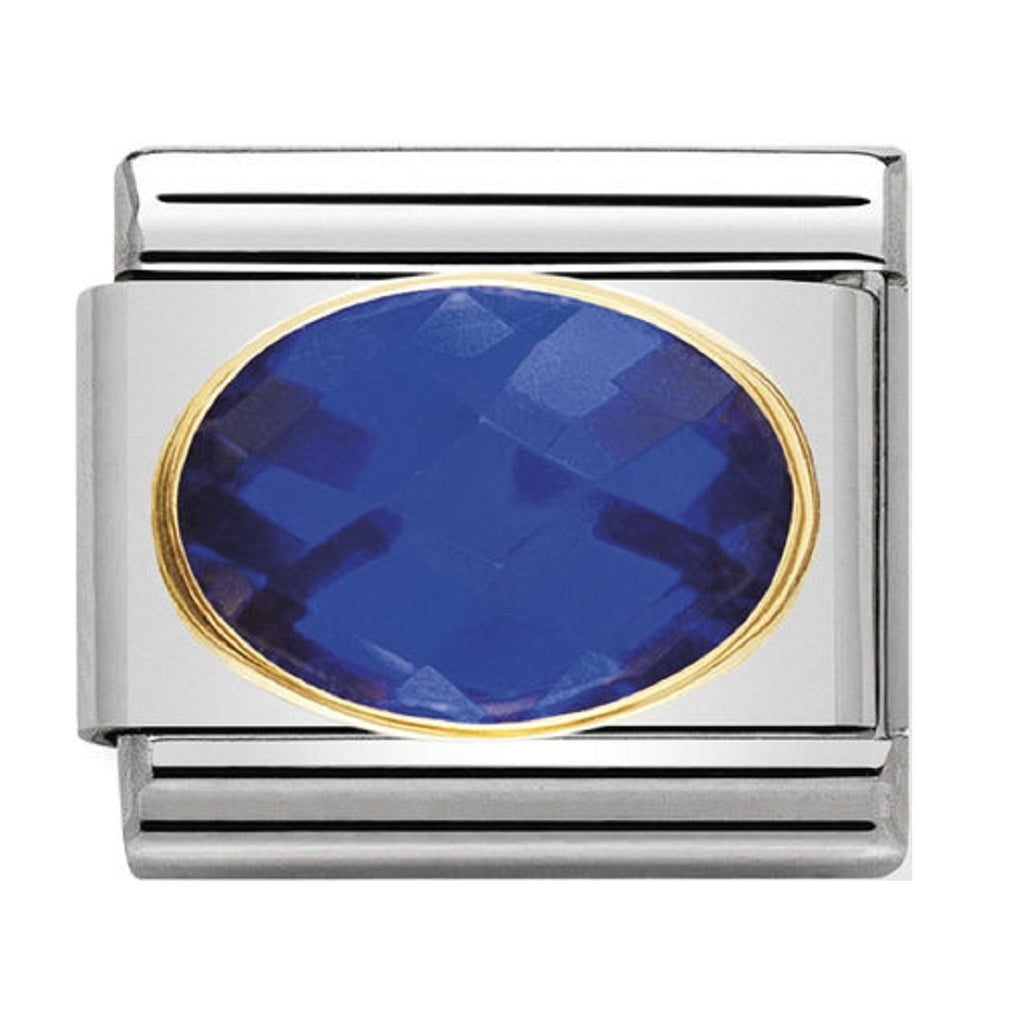 Nomination Charms Dark Blue Oval CZ with Gold