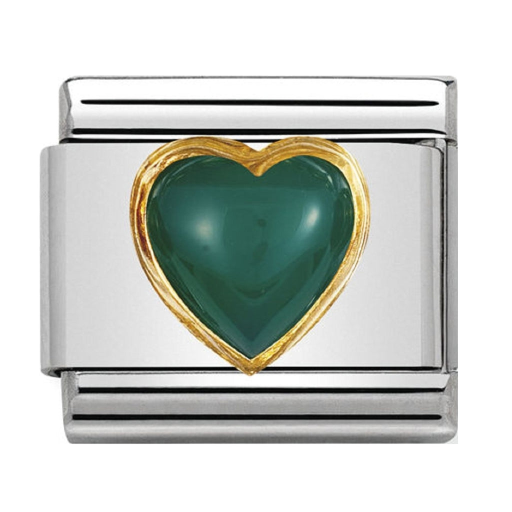 Nomination Charms Green agate Heart with Gold