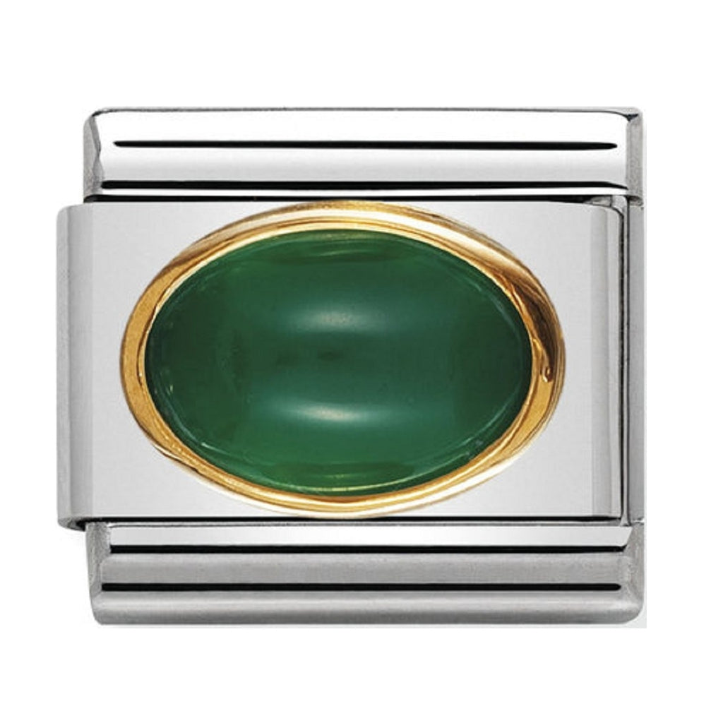Nomination Charms Green Agate Oval with Gold