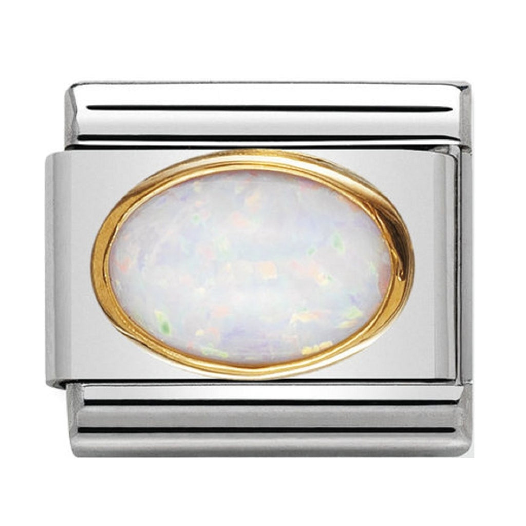 Nomination Charms White Opal Oval with Gold