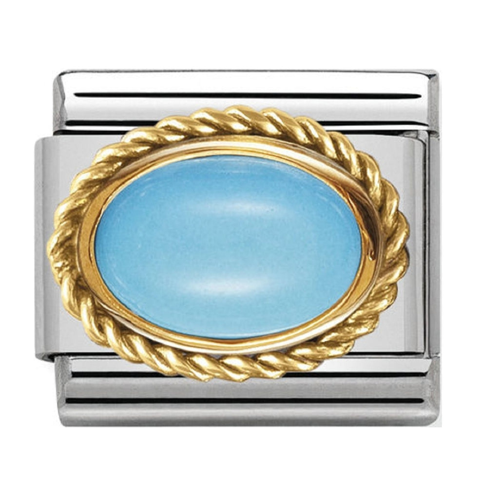 Nomination Charms Turquoise Oval with Gold Surround